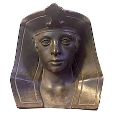 Antique 19th century Grand Tour French Egyptian Revival Bronze Bust of Pharaoh