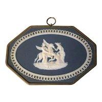 Antique 19th century English Regency Wedgwood Jasperware Framed Wall Plaque of Pegasus