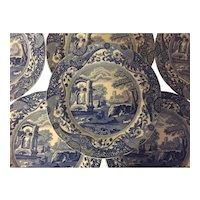 Set 6 Large Antique 19th century Copeland Spode Blue & White Transfer Dinner Plates in the Italian Landscape Pattern