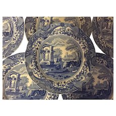 Set 6 Large Antique 19th century Copeland Spode Blue & White Transfer Dinner Plates in the Italian Landscape Pattern