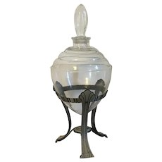 Large Antique 1920 Art Deco Pharmacy Drug Store Advertising Window Display Urn or Glass Show Globe Perfume Bottle for Colored Water
