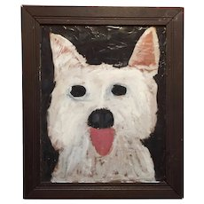 Outsider Folk Art Painting of a White Scottish Terrier Dog by Earl Swanigan