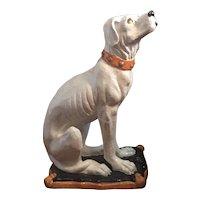 Large Life Size Hollywood Regency Glazed Terracotta Majolica Dog or Hound Figure Statue Italian 1930's