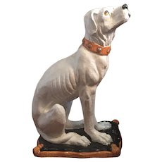 Large Life Size Hollywood Regency Glazed Terracotta Majolica Dog or Hound Figure Statue Italian 1930's