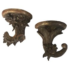 Pair Small Scale Antique 19th century Regency Carved & Gilt Wood Wall Bracket Shelves