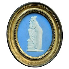 Antique 18th century Wedgwood Style Jasperware Plaque of Melpomene, the Muse of Tragedy by Adams & Co.