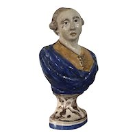 Antique 18th century Italian Deruta Tin Glaze Faience Bust of a Nobleman on a Faux Marble Socle Base