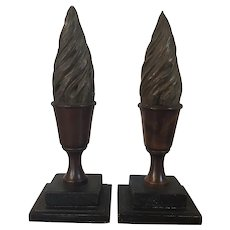 Pair Antique 18th century American Chippendale Mahogany Flame and Urn Form Treen Finials