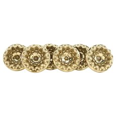 Set of 6 Large Antique 19th century American Federal Empire Spun Brass Classical Drapery Curtain Tie Backs