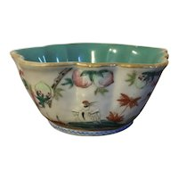 Antique 19th century Chinese Export Porcelain Bowl Decorated with Peaches & Bats with Turquoise Interior