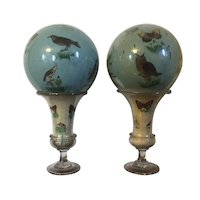 Pair Large Antique 19th century Blown Glass Decalcomania Spheres Mounted on Urn Vases Decorated with Birds & Butterflies - Witch Balls