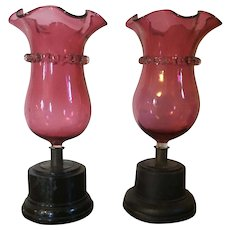 Pair Antique 19th century Cranberry Ruby Glass Vases with Ebonized Wood Stands