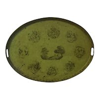 Large Antique Early 19th century French Empire Directoire Tole Peinte Oval Tray in Chartreuse Green