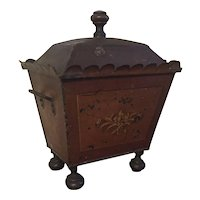 Antique 19th century English Regency Faux Bois Paint Decorated Tole Coal Hod for the Fireplace