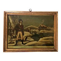 """Antique Early 19th century George III Reverse Painting Print on Glass in Carved Gilt Wood Frame by P. Stampa """"Wild Duck Shooting"""" Dated 1803"""