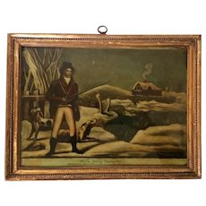 "Antique Early 19th century George III Reverse Painting Print on Glass in Carved Gilt Wood Frame by P. Stampa ""Wild Duck Shooting"" Dated 1803"