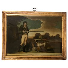 "Antique Early 19th century George III Reverse Painting Print on Glass in Carved Gilt Wood Frame by P. Stampa ""Partridge Shooting"" Dated 1803"