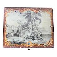 Antique Grand Tour 18th century Belgian Lacquer Paint Decorated Wood Jewelry Sewing Trinket Box, Boite de Spa or Jolité