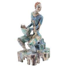 Large Wiener Werkstatte Modernist Ceramic Seated Male Figure Austria 1920 - Vally Wieselthier