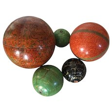 Set of Five Antique English Regency Graduated Stacked Paint Decorated Balls or Boxes Anglo Indian 19th century