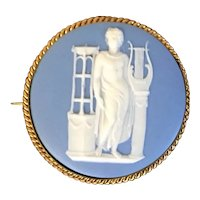 Antique 18th century Wedgwood Medallion Plaque of Apollo Mounted as a Brooch or Pin