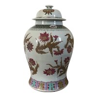 Large Antique Late 19th century Chinese Porcelain Temple Jar & Cover in Famille Rose Palette