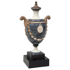 Antique 18th century Wedgwood Creamware Faux Porphyry Urn or Vase with Lion Handles Mounted as a Lamp