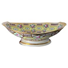 Antique Early 19th c. Coalport Porcelain Yellow Church Gresley Pattern Pineapple Stand or Compote Tazza - 1805