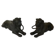 Pair Antique Early 19th century French Empire Bronze Models of the Capitoline or Egyptian Lion 1820