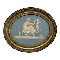 Antique Late 18th century Wedgwood Jasperware Plaque by Lady Templeton in Period Brass Frame