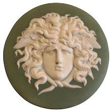 Large Early 19th century Wedgwood Sage Green Jasperware Portrait Plaque of Medusa