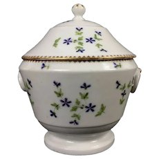 Antique Late 18th century Old Paris Porcelain Urn or Vase Shaped Sucrier or Covered Sugar Bowl in the Sprig Cornflower Pattern by Nast