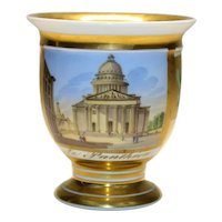 Antique 19th century French Empire Grand Tour Old Paris Porcelain Cup with Architectural Painting of the Pantheon