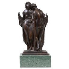 Fine Art Deco Modernist Bronze Figural Study of Two Robed Women Attributed to Charles Vyse (1882 - 1971)