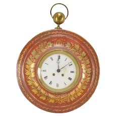 Antique French Empire Charles X Tole Cartel Wall Clock - Early 19th century