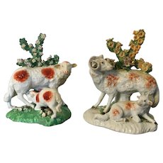 Pair Antique 18th century English Derby Porcelain Figures of Sheep, Lamb and Ram in Bocage circa 1760 - 1770