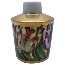 Antique Early 19th century Paris Porcelain Tea Caddy Decorated with Continuous Hand Painted Parrot Tulips on Bright Gold Ground