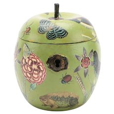 Antique 19th century English Paint Decorated Box Form Tea Caddy in the Shape of an Apple with Decoupage Decalcomania