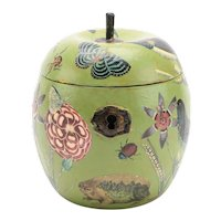 Wooden Apple Form English Paint Decorated Tea Caddy or Box with Decoupage Decalcomania