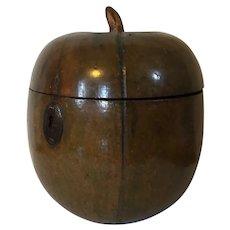 Antique 18th century English George III Fruitwood Melon Form Treen Tea Caddy