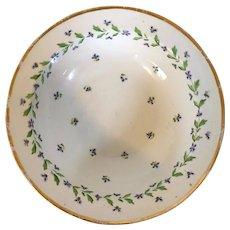 Antique 18th century French Louis XVI Paris Porcelain Round Deep Dish or Bowl in the Sprig Cornflower Pattern 1790