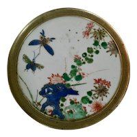 Antique 18th century Chinese Kangxi Porcelain Butterfly Wall Plaque or Trivet with Brass Frame