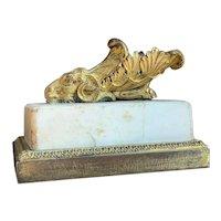 Antique 18th century English George III Neoclassical Gilt Bronze Ormolu Rhyton Ram's Head Sculpture on Marble Plinth 1790