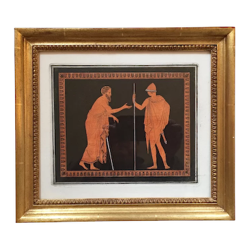 Antique 18th century Neoclassical Print Aquatint Engraving in Black & Terra-Cotta Ink by Sir William Hamilton Taken from Greek & Etruscan Vases