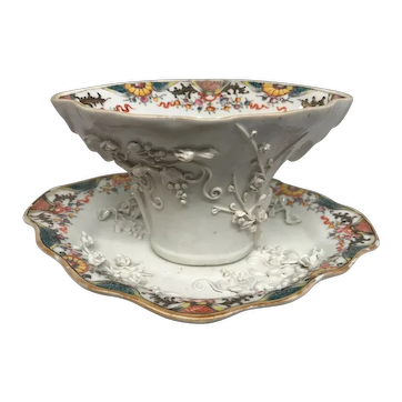Antique 18th century Chinese Export Porcelain Blanc de Chine Libation Cup and Under Plate or Platter Kangxi