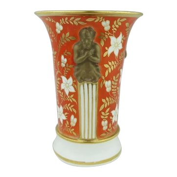 Fine Antique Early 19th century Spode Porcelain Tomato Red Vase with Neoclassical Term Handles 1810