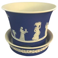 Antique 19th century Wedgwood Neoclassical Jasperware Cachepot Flower Pot Jardiniere and Stand