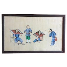 Antique 19th century Chinese Pith Painting on Rice Paper in Famille Rose Colors
