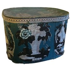 Large Antique Early 19th century American Federal Wallpaper Hat Box or Band Box with Shepherds, Sheep and Flower Urns