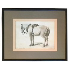 William Hart (American 1823 - 1894) 19th century Hudson River School Artist Watercolor Drawing of a Work Horse